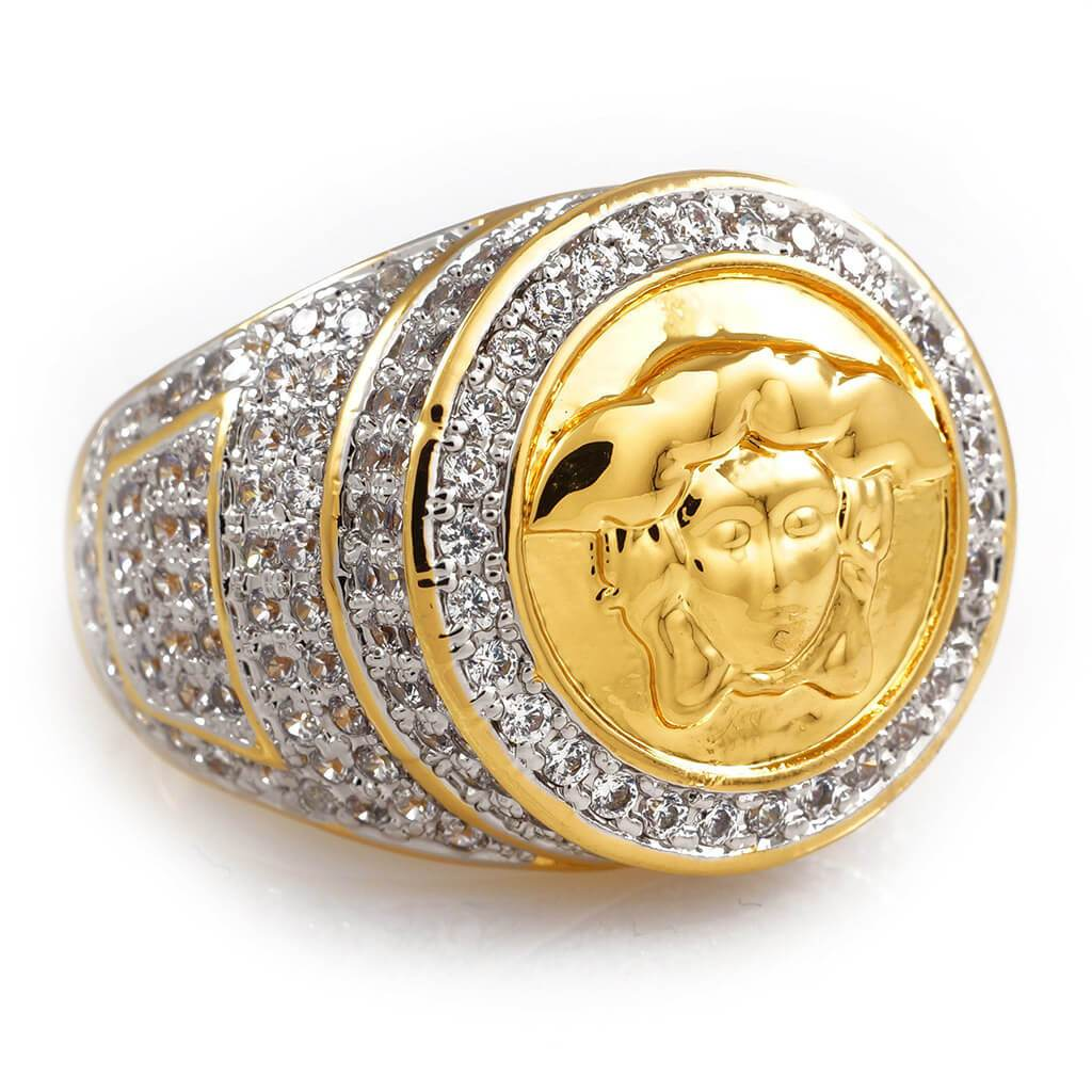 Affordable 18K Gold Plated Iced Out Medusa Hip Hop Ring - White Background