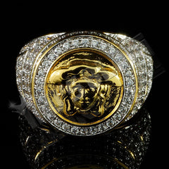 Affordable 18K Gold Plated Iced Out Medusa Hip Hop Ring - Front View