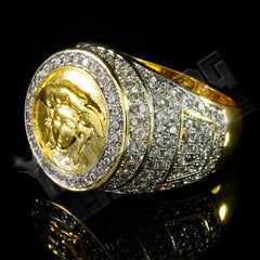 Affordable 18K Gold Plated Iced Out Medusa Hip Hop Ring - Left Side View