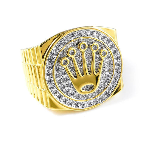 18K Gold Plated Iced Presidential Ring