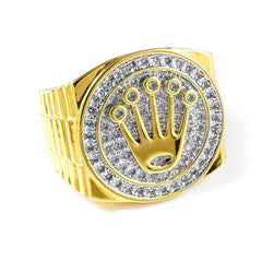 Affordable 18K Gold Plated Iced Out Presidential Hip Hop Ring - White Background