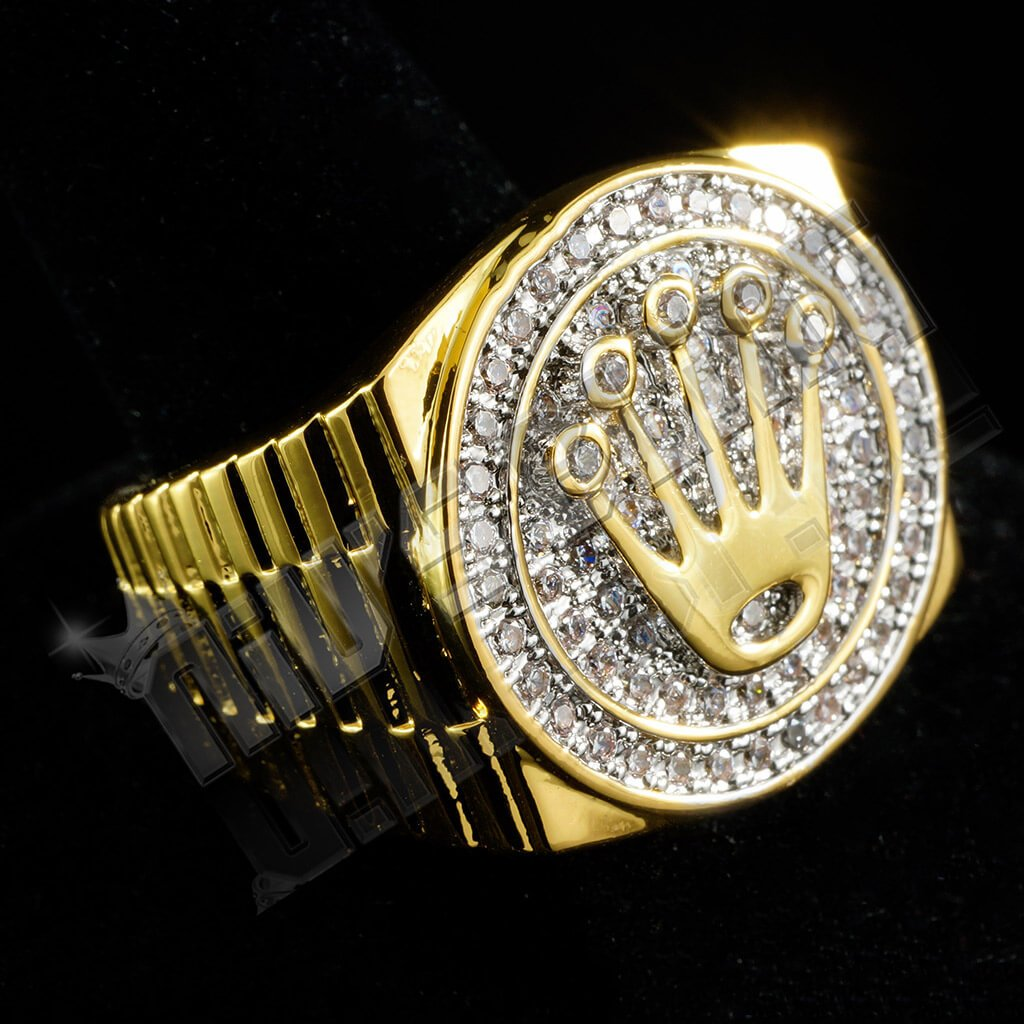 Affordable 18K Gold Plated Iced Out Presidential Hip Hop Ring - Right Side View