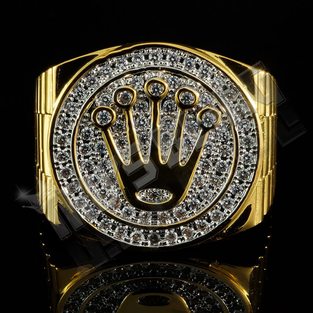 Affordable 18K Gold Plated Iced Out Presidential Hip Hop Ring - Front View