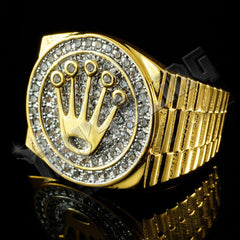 Affordable 18K Gold Plated Iced Out Presidential Hip Hop Ring - Left Side View