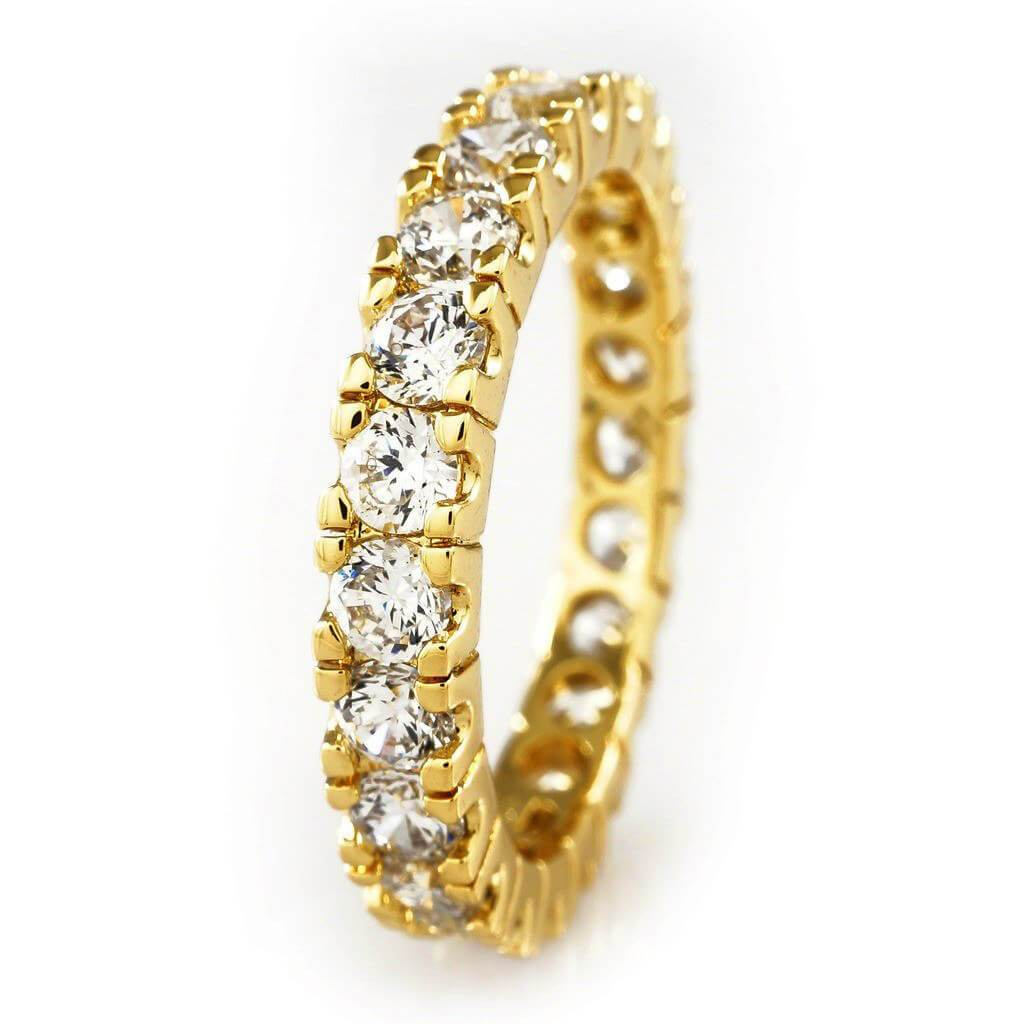 Affordable 18K Gold Promise Eternity Ring - White Background