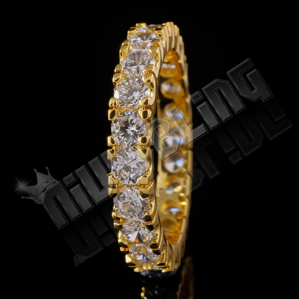 Affordable 18K Gold Promise Eternity Ring - Black Background