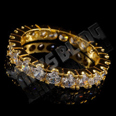 Affordable 18K Gold Promise Eternity Ring - Tilted Side View