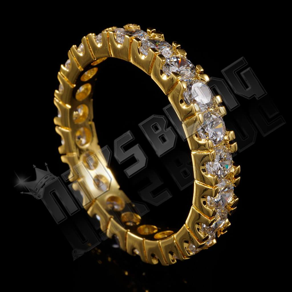 Affordable 18K Gold Promise Eternity Ring - Side View