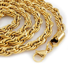 Affordable 18K  Gold Rope Hip Hop Chain -  White Background