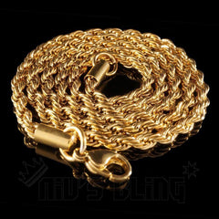Affordable 18K  Gold Rope Hip Hop Chain - Whole View 4mm Width