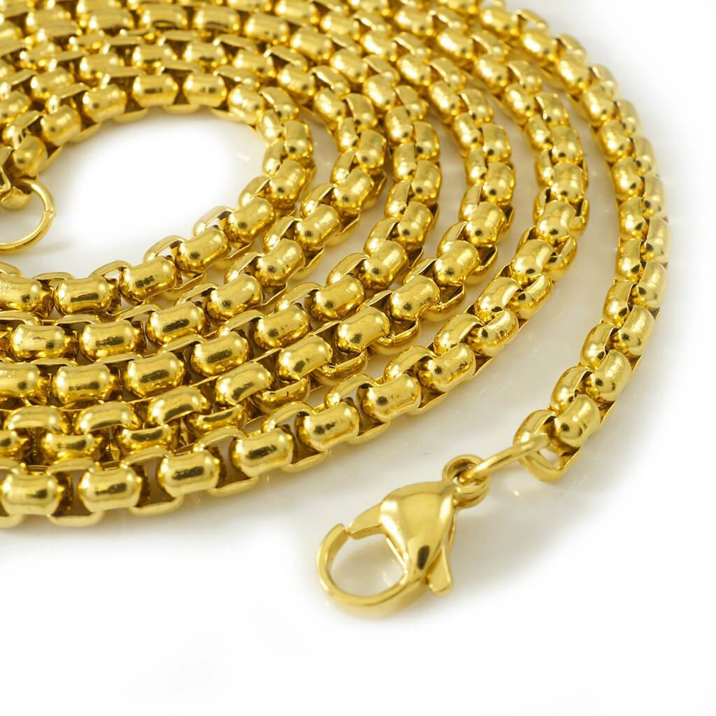 Affordable 18K Gold Round Box Hip Hop Chain - White Background
