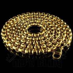 Affordable 18K Gold Round Box Hip Hop Chain - Whole View