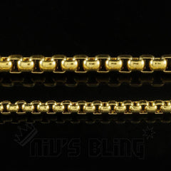 Affordable 18K Gold Round Box Hip Hop Chain - Link Width Variations