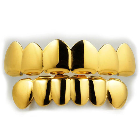 Affordable 18K Gold Plated 6 tooth Hip Hop Grillz - White Background