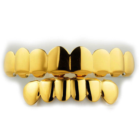Affordable 18K Gold Plated 8 Tooth Hip Hop Grillz - White Background