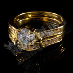 18K Gold Wedding Engagement Ring Set
