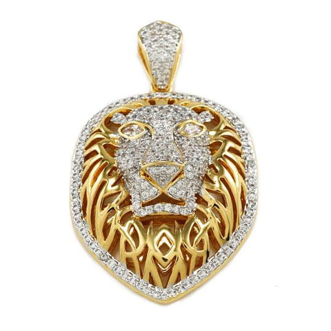 Affordable 18k Gold Tiger King Lion Hip Hop Pendant - Front View
