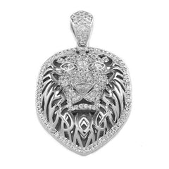 18k White Gold Tiger King Lion Pendant with Rope Chain