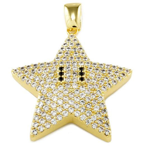 Affordable 18K Gold Iced Out Mario Star With Hip Hop Chain - Pendant Front View