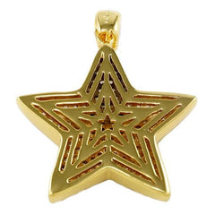 18K Gold Iced Out Mario Star With Box Chain