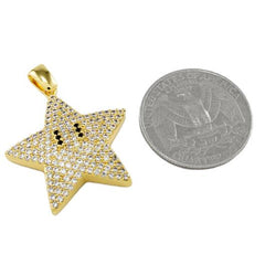 Affordable 18K Gold Iced Out Mario Star With Hip Hop Chain - Coin Comparison