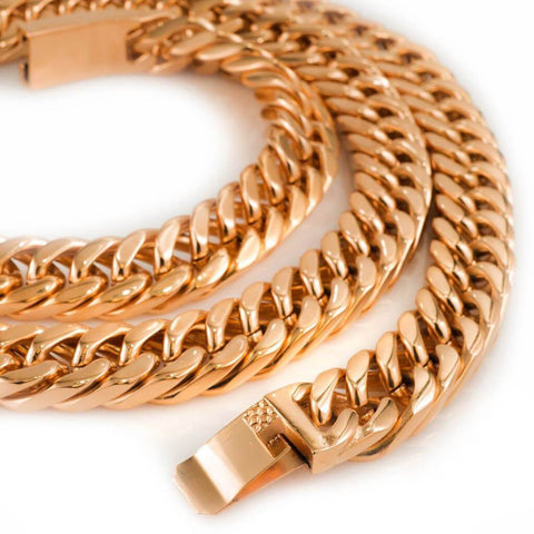 Affordable 18K Rose Gold Cuban Miami Hip Hop Chain Link Stainless Steel - White Background