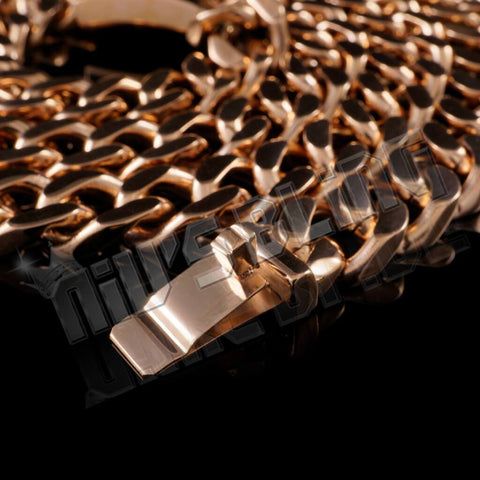 Affordable 18K Rose Gold Cuban Miami Hip Hop Chain Link Stainless Steel - Close Up