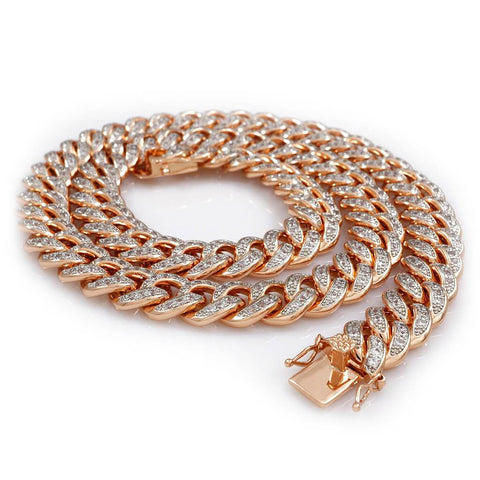 Affordable 18K Rose Gold Iced Out Cuban Hip Hop Chain - White Background