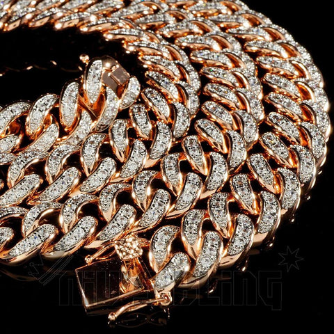 Affordable 18K Rose Gold Iced Out Cuban Hip Hop Chain - Close Up