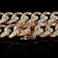 18K Rose Gold Iced Out Cuban Chain