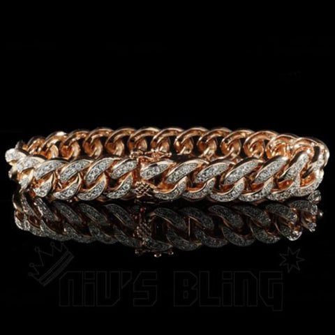 Affordable 18K Rose Gold Iced Out Cuban Link Hip Hop Bracelet - Front View