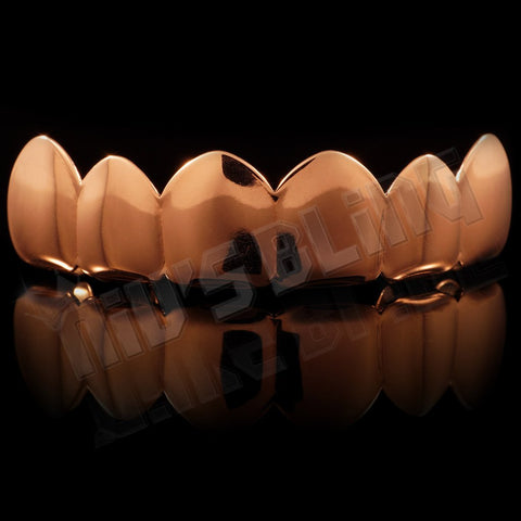 Affordable 18K Rose Gold Plated 6 tooth Hip Hop Grillz - Top Grill