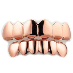 Affordable 18K Rose Gold Plated 6 tooth Hip Hop Grillz - White Background