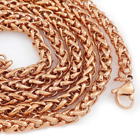 Affordable 18K Rose Gold Wheat Hip Hop Chain - White Background