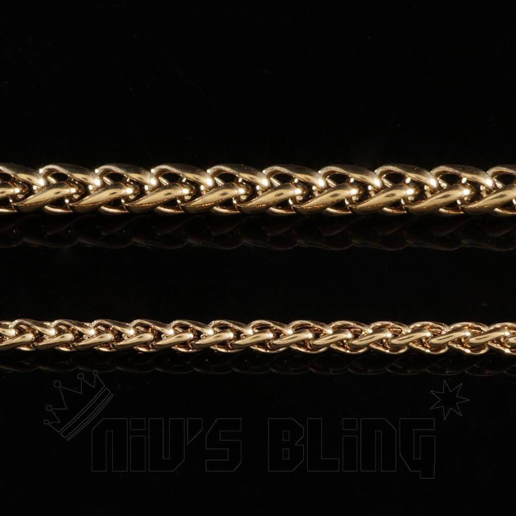 18K Rose Gold Wheat Chain