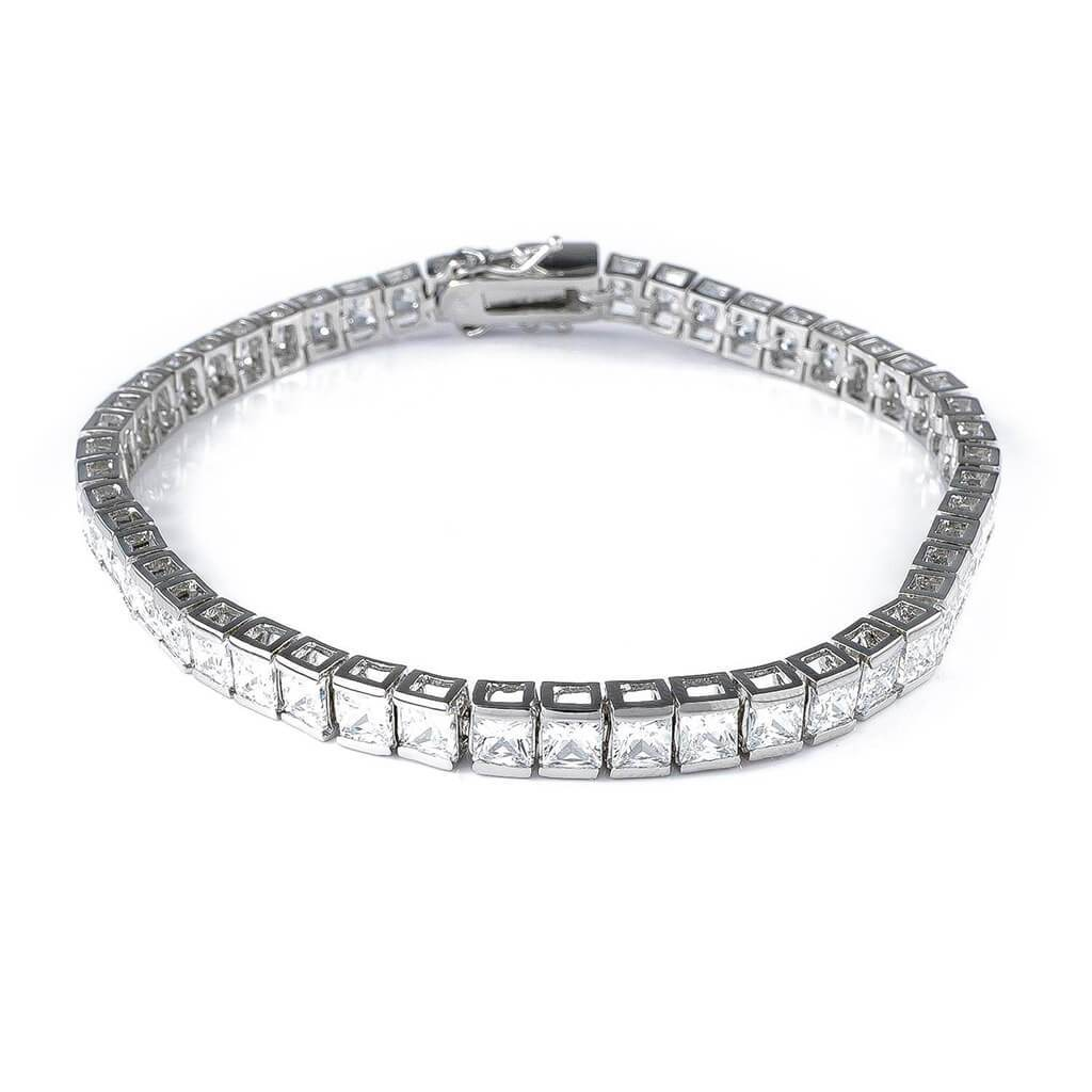 18K White Gold 1 Row Princess Cut Tennis Bracelet