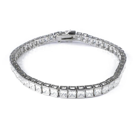 Affordable 18K White Gold 1 Row Princess Cut Tennis Hip Hop Bracelet - White Background