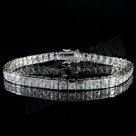 Affordable 18K White Gold 1 Row Princess Cut Tennis Hip Hop Bracelet - Front view