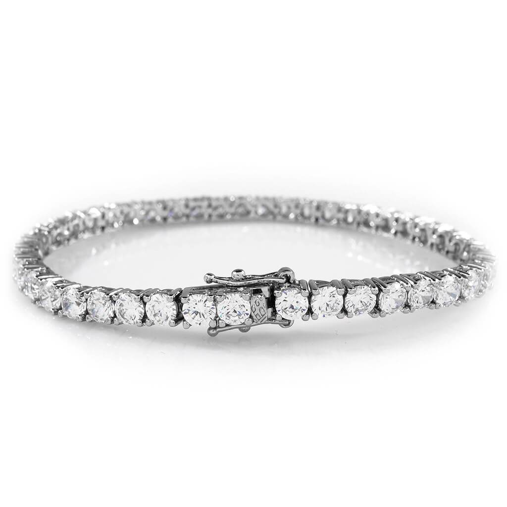 Affordable 18K White Gold 1 Row Tennis Hip Hop Bracelet - White Background