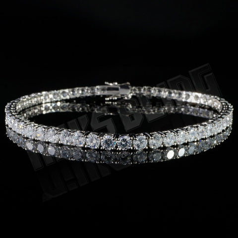 Affordable 18K White Gold 1 Row Tennis Hip Hop Bracelet - Front View