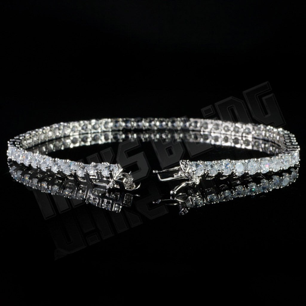 Affordable 18K White Gold 1 Row Tennis Hip Hop Bracelet - Side View with Open Box Clasp