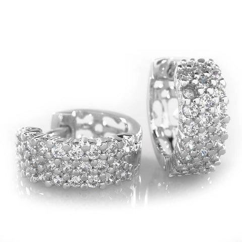 Affordable 18K White Gold 3 Row Huggie Hoop Hip Hop Earrings - White Background