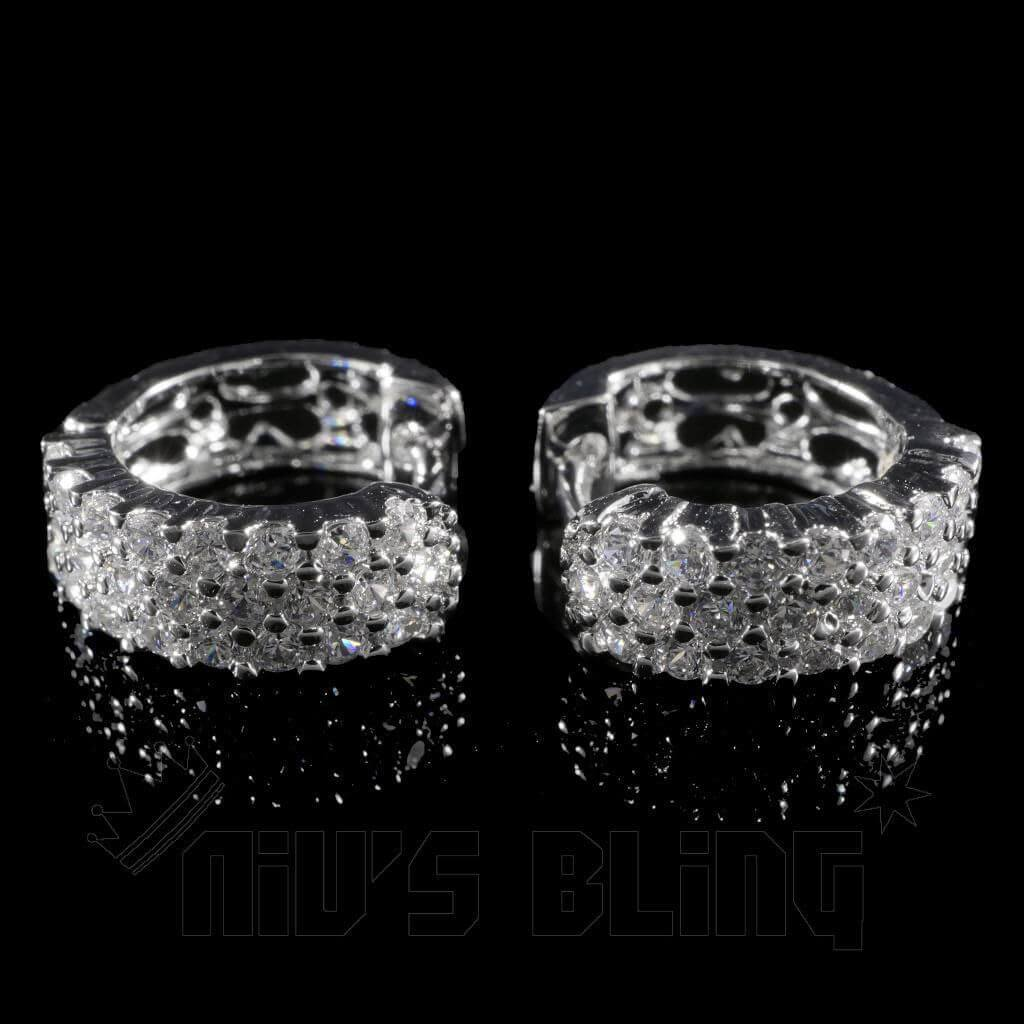 Affordable 18K White Gold 3 Row Huggie Hoop Hip Hop Earrings - Front View
