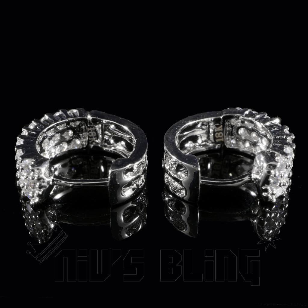 Affordable 18K White Gold 3 Row Huggie Hoop Hip Hop Earrings - Clasp view