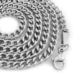 Affordable 18K White Gold 4mm Franco Hip Hop Chain - White Background