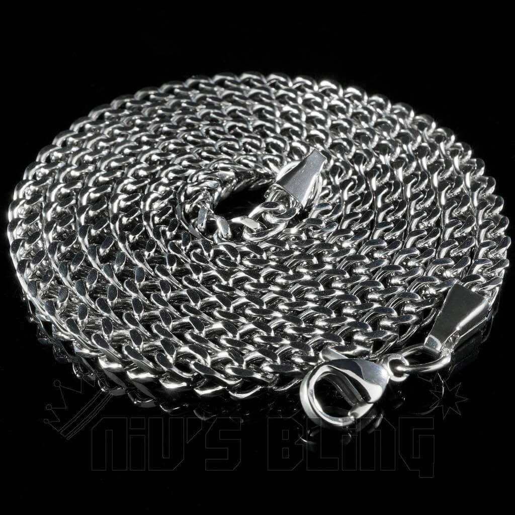 Affordable 18K White Gold 4mm Franco Hip Hop Chain - Whole View
