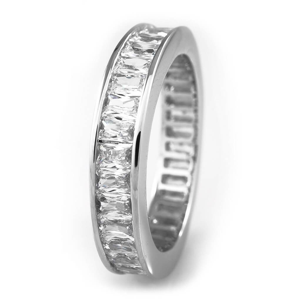 Affordable 18K White Gold Baguette Cut Eternity Ring - White Background