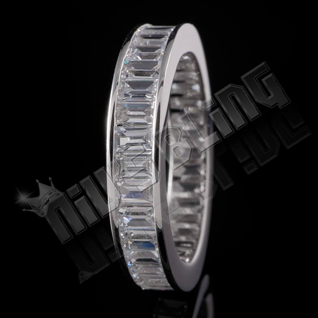 Affordable 18K White Gold Baguette Cut Eternity Ring - Black Background