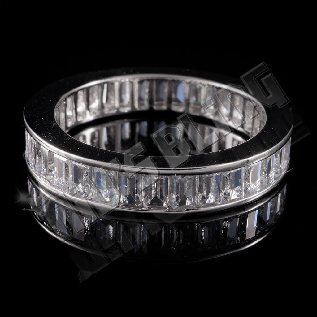 Affordable 18K White Gold Baguette Cut Eternity Ring - Front View