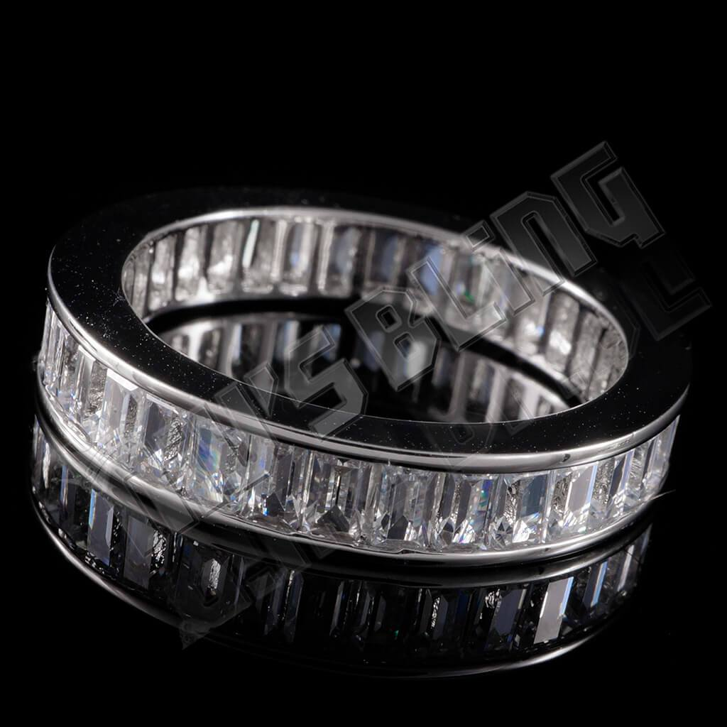 Affordable 18K White Gold Baguette Cut Eternity Ring - Tilted Side View